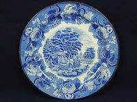 "Woods Ware Enoch Woods Scenery Plate Cobalt Blue White 10"" Wood & Sons England"