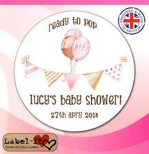 BLG04 48x40mm Baby Shower Birth Girl Personalised Christening Sticker/Label/Card