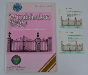 Wimbledon 1989 Tennis Championships 27th June 2nd Day Programme + 2 Tickets