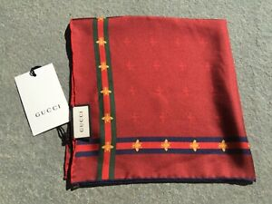 NEW Gucci Silk Pocket Square in Red Signature Web Stripe & Iconic Bumble Bee