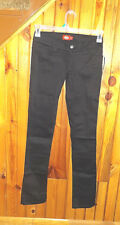 NEW WITH TAGS-WOMENS JUNIORS DICKIES STRETCH JEANS PANTS -STRAIGHT-BLACK-SIZE 1