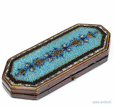 Estuche de anteojos Biedermeier perlas bordado 1830 Beadwork glasses case handicrafts