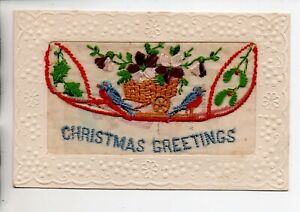 Embroidered Silk - Christmas Greetings with insert