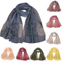 Muslim Long Beaded Scarf Hijab Cape Women Party Long Scarves Wrap Shawl Headwear