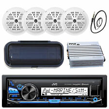 Silver Marine MP3 AM/FM Stereo /Bluetooth + 4 Speakers Antenna Cover 400W Amp