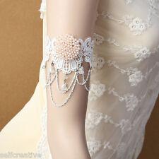 Crystal Chain Flower Lace Arm Band Armband Armlet Bracelet Bridal Dance Gothic