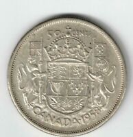 CANADA 1958 DOT 50 CENT HALF DOLLAR QUEEN ELIZABETH CANADIAN .800 SILVER COIN