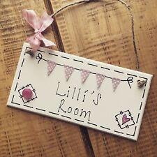 Personalised Name Plaque Door Nursery Bedroom Sign Gift Baby Girls Bunting Room