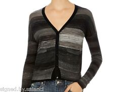 Karen Millen Fine Gauge Stripe Knit Long Popper Pocket Grey Cardigan Top 2 10 38