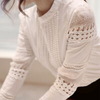 Blouse Women's Casual Lace Crochet Hollow Slim Long Sleeve Shirt Shirt Top Solid