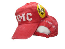 Red Washed Distressed USMC US Marine Corps Embroidered Cap Hat Premium (RUF)