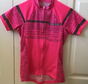 EXCELLENT WOMENS SMALL PEARL iZUMi SELECT PINK STRIPE FULL ZIP CYCLING JERSEY
