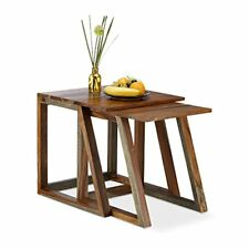 Relaxdays juego de mesas auxiliares madera Marrón 28x35x47 cm