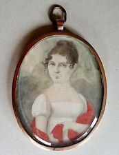 (b093) Biedermeier miniature portrait d'une jeune femme en 14k or pour 1820
