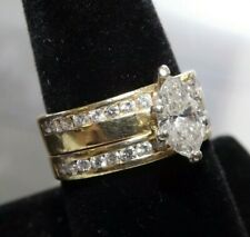 1.25ct Marquis Center Stone, Approx 1.85Tcw Women's 14K Yellow Gold Wedding Set,