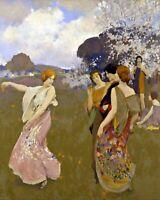 Spring Dance by American  Arthur F. Mathews. Canvas Fun Art.  11x14 Print