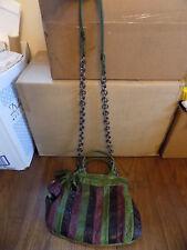 SOFIA C Distressed Leather Green Purple Black Striped Cross body Handbag Italy