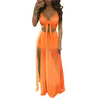 Women Lady Sheer Lace Crop Top Split Long Maxi Skirt Summer Beach Dress 2PIECE