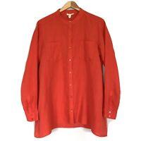 Eileen Fisher Womens Shirt Blouse Tunic Coral Irish Linen Long Sleeve Sz. S