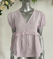 Boohoo Smock Top Blouse Cotton Peplum Size 8 Lilac Button Detail EL82
