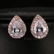 AAA+ Cubic Zirconia CZ Crystal Rose Gold Plated Pear Water-Drop Stud Earrings UK