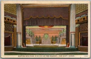 "1930s Fort Scott, Kansas Postcard ""SCOTTISH RITE STAGE"" Theatre Interior Unused"