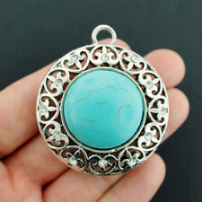 Filigree Antique Silver Tone Charm With Imitation Turquoise Rhinestones - SC7083