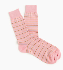 J Crew Dress Socks Mens Pink Classic Striped Authentic One Pair Buy 2+ Save
