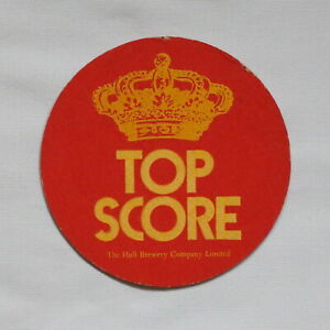Top Score Beer Mat Hull Brewery Company Two Colour Crown Design Double Sided