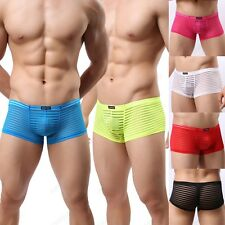 Brand Men's Striped Sheer Boxer Briefs Sexy Confortable Trunks Underwear M L XL