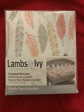Lambs & Ivy Family Tree Coral/Gray/Gold Leaf Print Baby Changing Pad Cover