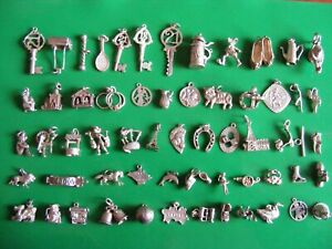 F) VINTAGE STERLING SILVER CHARMS CHARM CAT LION SPHYNX DRAGO PIXIE CLOG BALL
