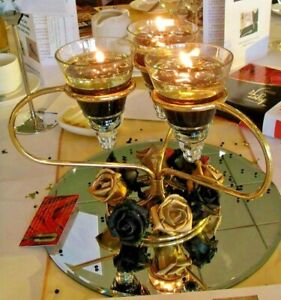 Gold Candelabra Votives 3-Arm Floating Candle Holder Home Party Wedding Dining