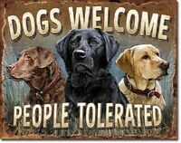Dogs Welcome Metal Tin Sign Wall Art