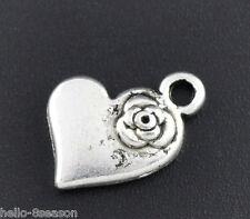 50 Tono Plata Heart & flor encantos colgantes 15x11mm