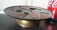 Lovely Brass Plate/Bowl with Hand Painted Flowers On,Beautiful/Collectible
