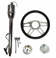 "Manual Column 30"" No Key& Chrome Aluminum New Age Style 14"" Steering Wheel"