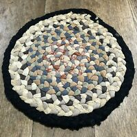 Vintage braided chair pad or table pad round country farmhouse worn