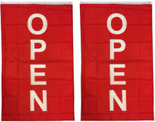 3x5 ft VERTICAL OPEN flag store concession business banner Flag rb - 2 PACK