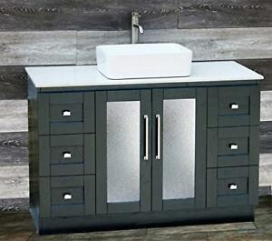 "48"" Bathroom Black Vanity 48-inch cabinet White Quartz top Ceramic Vessel sink"