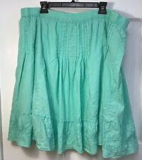 Lane Bryant Plus SIze 22/24 Mint Green Skirt 100% cotton peasant  ruffle Preown