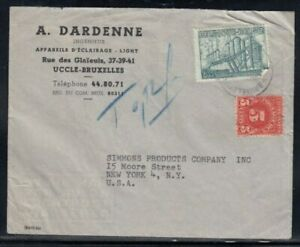 BELGIUM Commercial Cover Brussels to New York Postage Due
