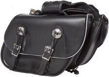 MEDIUM SIZE PV LEATHER MOTORCYCLE SADDLEBAGS w/REFLECTIVE TRIM UNIVERSAL FIT