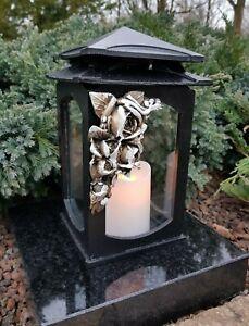 Grablaterne  Grablampe Lampe Grableuchte Grablicht Grabschmuck Rosen Kerze
