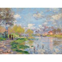 Claude Monet Spring By The Seine Large Canvas Art Print