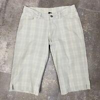 Patagonia Shorts Plaid Long Womens Bermuda Gray Taupe Organic Cotton Size 6