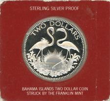 Bahamas $2 1974 FLAMINGOS Gem Proof silver coin
