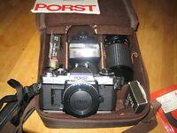 PORST CR-3 automatic Fotocamera mit tele zoom 75-200 , 50mm und carena flash