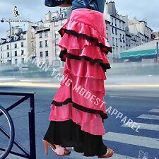SHARON TANG Modest Apparel Long Velvet Piping Ruffle Maxi Skirt M ST132080006-12