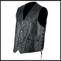 Gilet jacket en cuir patchwork avec lacets Biker Country / grande taille M à 3XL
